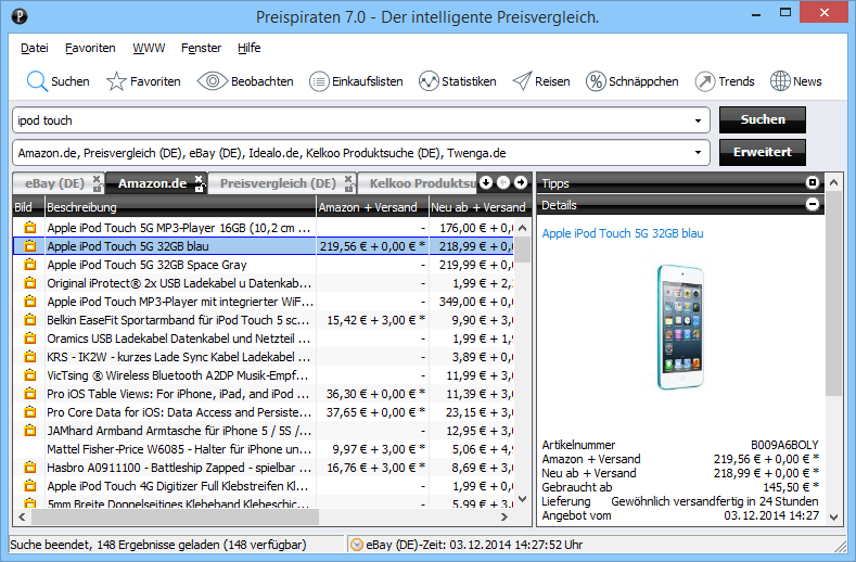 Screenshot vom Programm: Preispiraten
